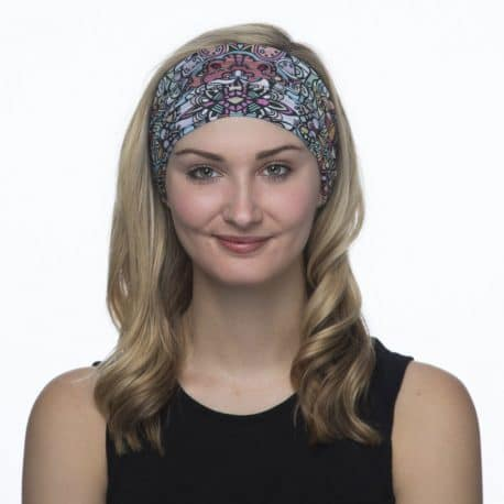 image of a female model wearing a patterned headband