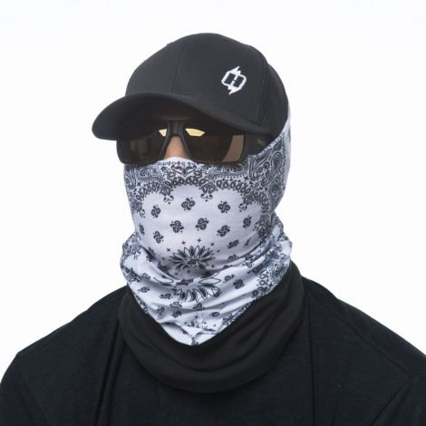 White Paisley Winter Fleece Face Mask 661ec1c1870
