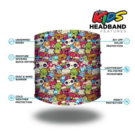 Image detailing features of a headband with a repeating pattern of cartoon pandas, turtles, cupcakes, cats and mushrooms