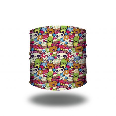 Headband with a repeating pattern of cartoon pandas, turtles, cupcakes, cats and mushrooms