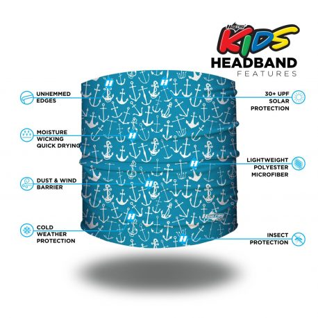 Image detailing features of a headband of aqua fabric and white anchors of different sizes and shapes