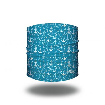 Headband of aqua fabric and white anchors of different sizes and shapes