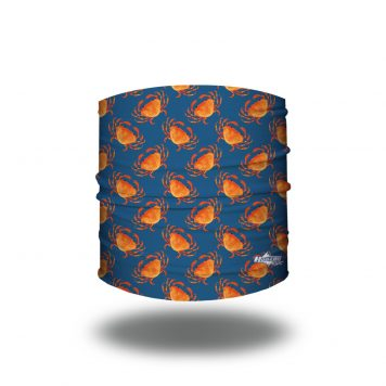 Navy blue with a repeating pattern of orange crabs