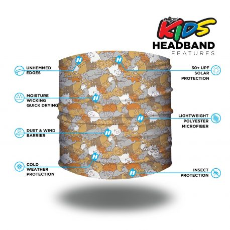 Image detailing features of a headband with cats of different colors overlapping one another in a repeating pattern