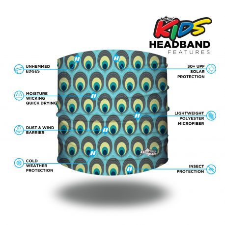 Image detailing features of a headband of aqua fabric. It has ovals filled with colors of a peacock tail covering the fabric