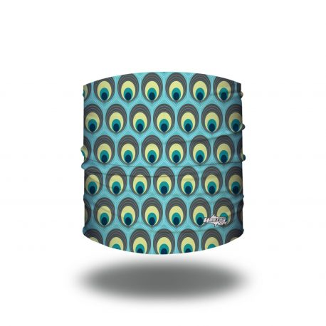 Headband of aqua fabric, ovals filled with colors of a peacock tail cover the fabric