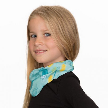 A young girl in a neck gaiter of light teal fabric with yellow and teal pineapples