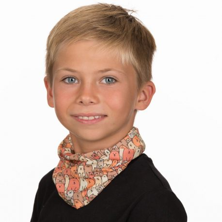 A young boy wearing a neck gaiter of cartoon bears in an overlapping pattern