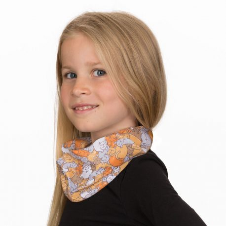 A young girl wearing a neck gaiter of different colored cats overlapping one another in a repeating pattern