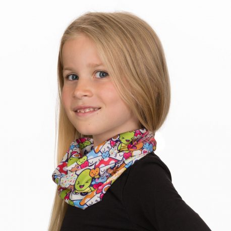 A young girl wearing a neck gaiter with a repeating pattern of cartoon pandas, turtles, cupcakes, cats and mushrooms
