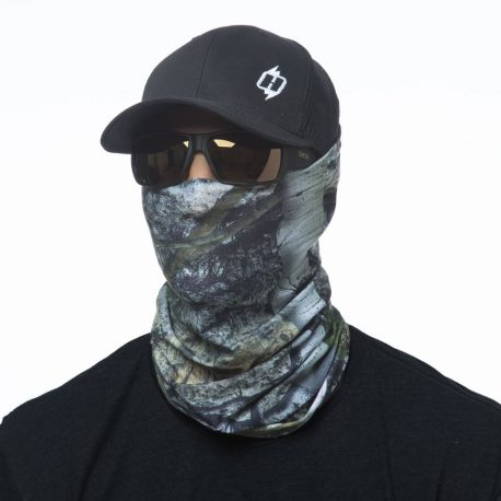 image of male model in hat, sunglasses and tubular bandana in mossy oak mountain country design being worn as a face mask