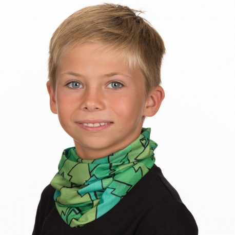 A young boy wearing a neck gaiter with trees of different colors overlapping each other in a repeating pattern
