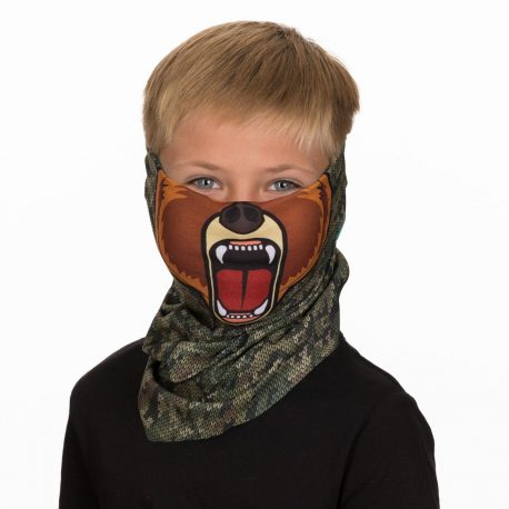 A young boy wearing a face mask of a cartoon bear on a camo background