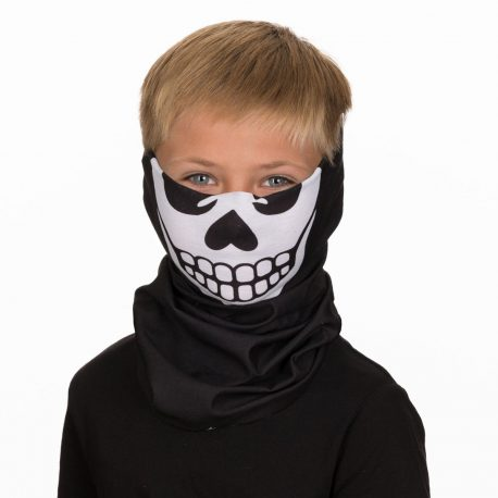 A young boy wearing a face mask of a white skull on a black fabric