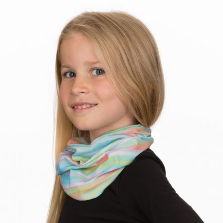 A young girl wearing a neck gaiter of pastel stripes