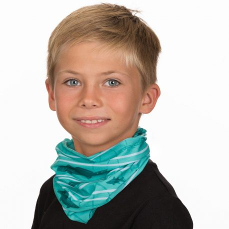 A young boy wearing a neck gaiter featuring fish and plants found in offshore water