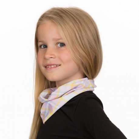 A young girl wearing a neck gaiter in a plaid pattern of light pink, blue, green, yellow and white colors