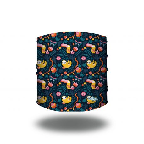 Navy fabric headband filled with images of sloths, toucans, butterflies and flowers