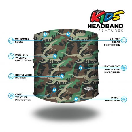 Image detailing features of a black fabric headband with dinosaurs of different shapes in sizes in green, tan and brown