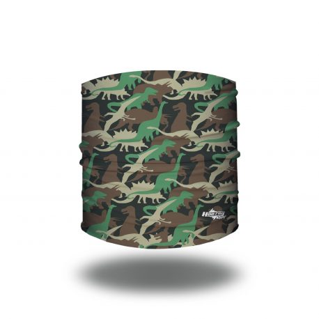 Black fabric headband with dinosaurs of different shapes in sizes in green, tan and brown
