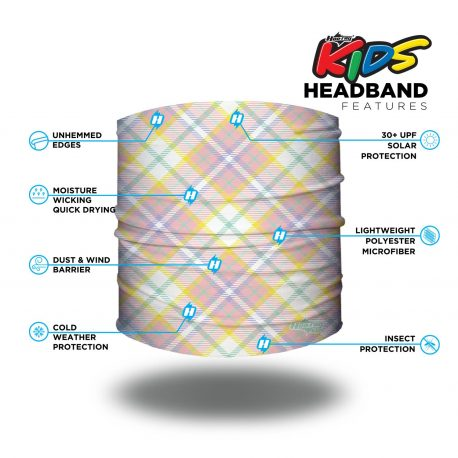 Image detailing features of a Plaid patterned headband in colors of pastel pinks, greens, yellow and white