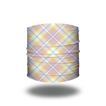 Plaid patterned headband in colors of pastel pinks, greens, yellow and white