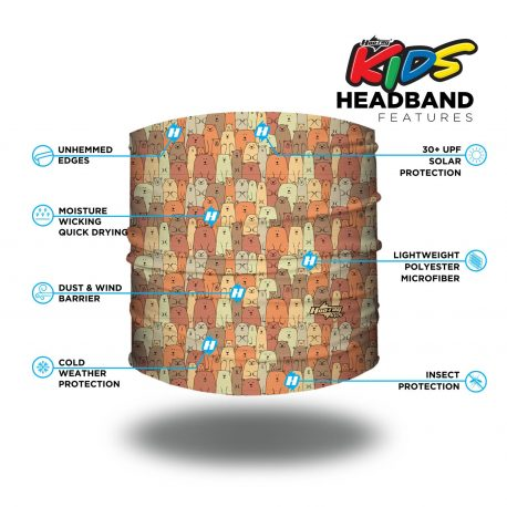 Image detailing features of a Headband showing overlapping cartoon bears in different colors