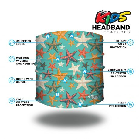 Image detailing features of a headband with starfish in different colors on a teal background