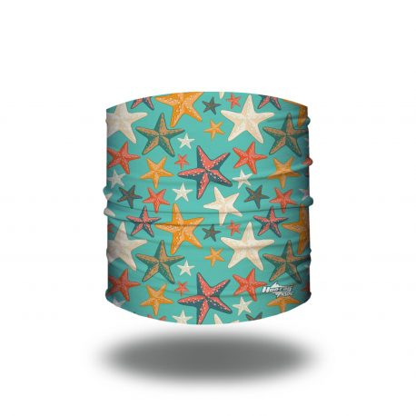 Headband with starfish in different colors on a teal background