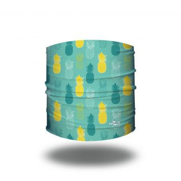 Headband on light teal fabric with pineapples in a repeating pattern of teal and yellow