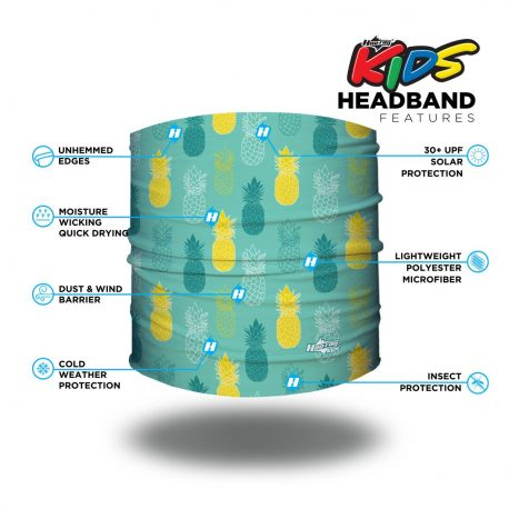 Image detailing features of a headband on light teal fabric with pineapples in a repeating pattern of teal and yellow