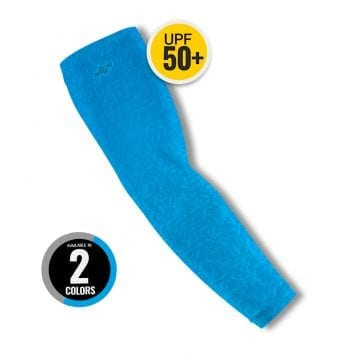 image of a single arm sleeve in blue color with disc showing 2 color options