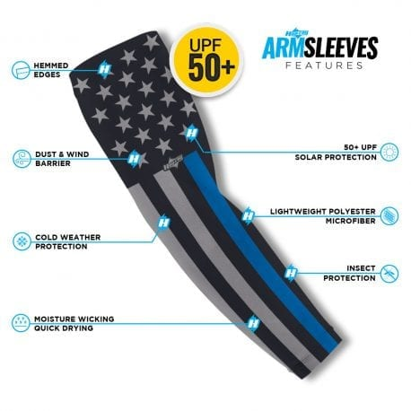 Thin Blue Line Flag Arm Sleeves | Buy Alone or in a Pair