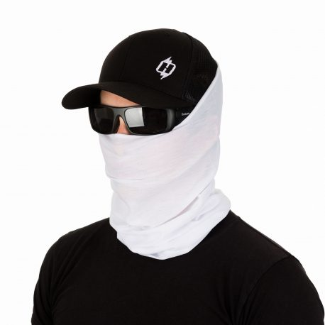 male model in a hat, sunglasses, and solid white face mask