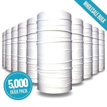 image of white tubular bandanas indicating bulk package of 5000 units