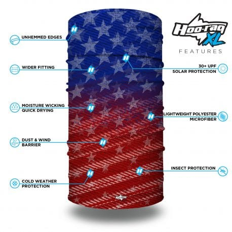 extra large red white and blue american flag bandana features list