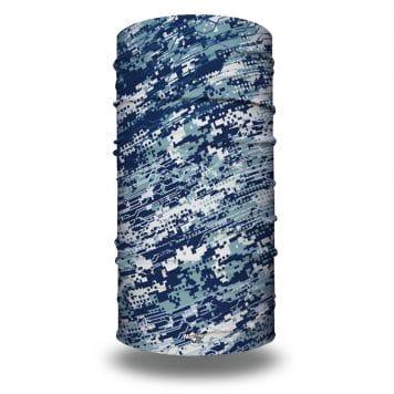 Image of an extra large tubular bandana in a blue pattern