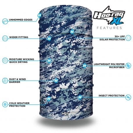 Image of an extra large tubular bandana in a blue pattern with a features list