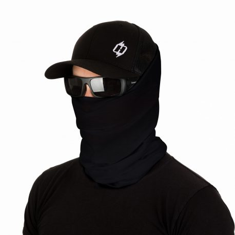male model wearing a hat, sunglasses and a solid black face mask