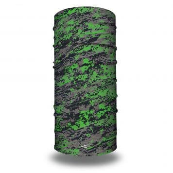 image of tubular bandana in shades of green and gray