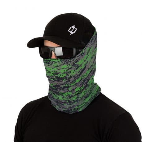male model in sunglasses, hat and face mask of gray and green color