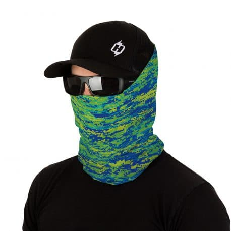 male model in hat, sunglasses and face mask in blue, green and yellow colors
