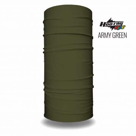 image of a tubular bandana in army green color, labeled as being sized for children