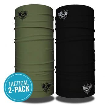 Photo of two tubular bandanas side by side. One in black, the other in military green