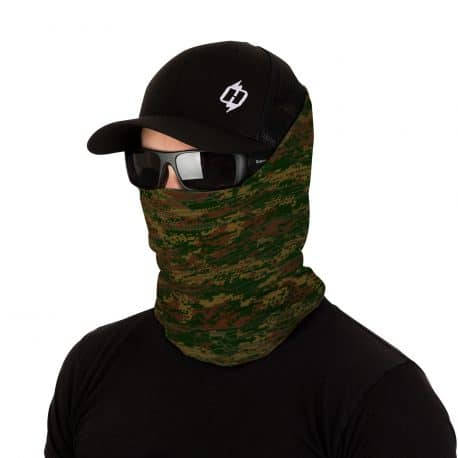 male model in sunglasses, hat and face mask in green and brown colors