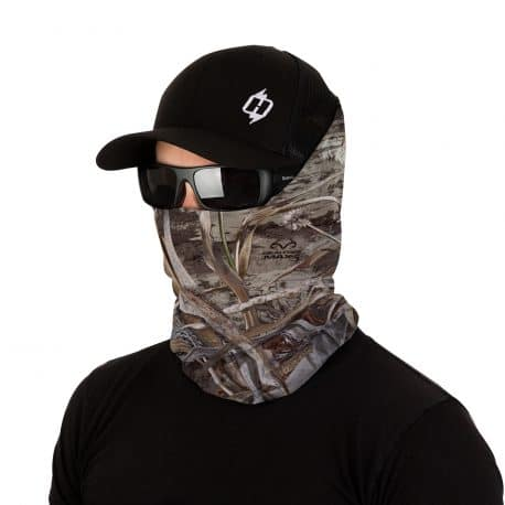 image of a male model in a hat and sunglasses wearing a waterfowl camo facemask