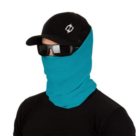 male model in sunglasses, hat and caribbean blue face mask