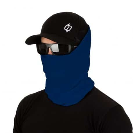 male model in sunglasses, hat and royal blue face mask