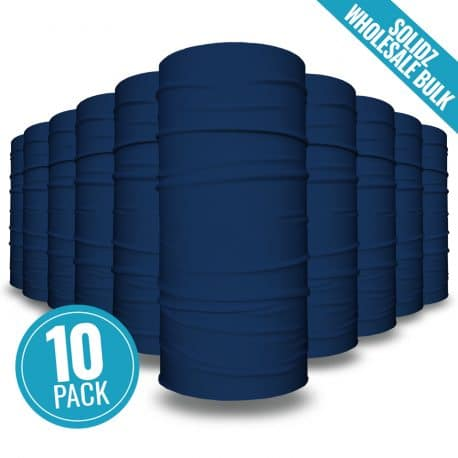 image of 10 tubular bandanas with a note that this is a 10 pack of dark blue bandanas