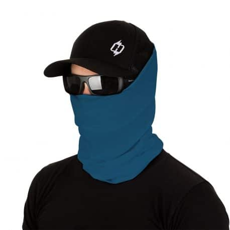 male model in sunglasses, hat and stormy blue face mask